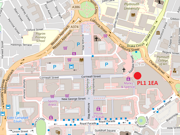 Plymouth Drake Circus map